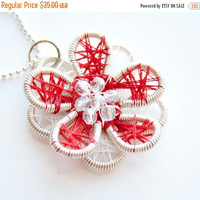 Christmas Sale Red and White Threaded Silver Wire Flower Pendant, Christmas Jewelry