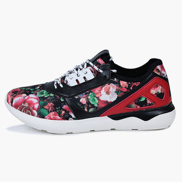 Pink Floral Print Lace Up Sneakers