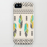 Painted Feathers-Cream iPhone & iPod Case by Bohemian Gypsy Jane | Society6