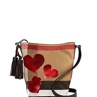 Burberry Canvas Check Sequin Heart Mini Ashby Crossbody
