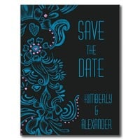 Blue Chalk Flowers Pink Diamonds Save the Date