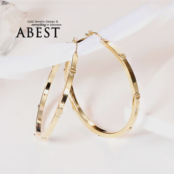 Simple Design Big Circle Hoop Earrings Women Bohemian Bridal Party Jewelry 925 Sterling Silver Rose Yellow Gold Earrings Brincos