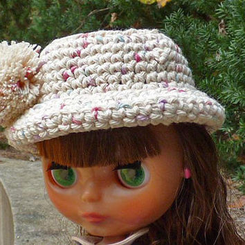 Blythe Hat, Cream Color, Pompom Hat, Doll Fashion, For Dolls, Hat for Dolls, Crochet Doll Clothes, Accessories for Dolls, Miniature Brim Hat