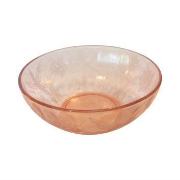 Pre-owned Pink Etched Depression Glass Bowl