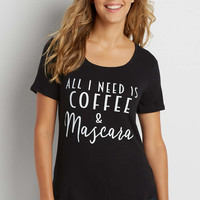 tee with all I need is coffee and mascara graphic | maurices