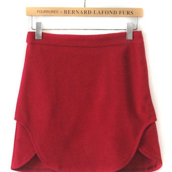 Red Asymmetric Hem Woolen A-Line Skirt