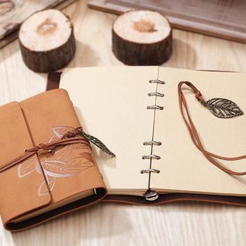 8.5 Inch 23..5x16.5cm Photo Album PU Leather 80 Sheets Khaki Paper Maple Leaf Diary Notebook Steel Ring Binding Lron Leaves