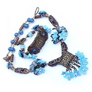 Blue and brown Polymer Clay jewelry set (necklace and bracelet)
