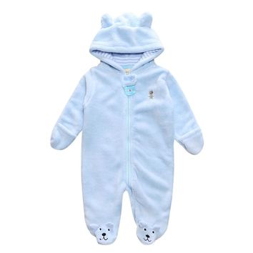 Baby Boy's Light Blue Bear Onesuit w/Hood