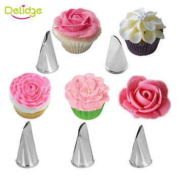 Delidge 5Pcs/Set Rose Petal Metal Cream Tips Cake Decorating Tools Icing Piping Nozzles Cake Cream Decorating Cupcake Tools