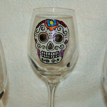 Sugar Skull, Day of the Dead, Hand Painted Wine Glasses set of 6
