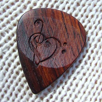 Treble and Bass Clef Heart - Handmade Laser Engraved Exotic Wood Guitar Pick - Cocobolo Rosewood