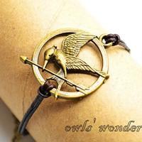 Antique brass Mockingjay bracelet, Hunger games bracelet,  Mockingjay, Katniss's arrow charm braid bracelet,leather bracelet