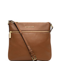 Bedford Flat Leather Zip Crossbody Bag, Luggage - MICHAEL Michael Kors