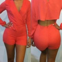 Red Cut Out V-Neck Long Sleeve Romper
