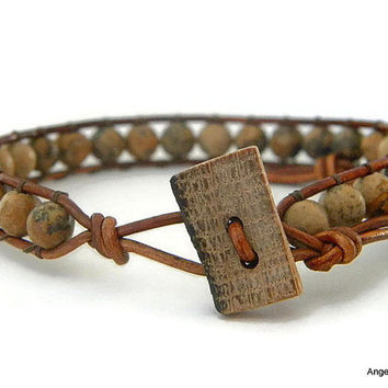 Whiskey Barrel Mens Bracelet Leather Wrap Bracelet Single Wrap