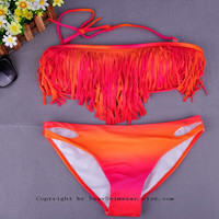 Women Padded Bra Boho Tassel Fringe Strapless Bikini Set Sexy Swimsuit Top and Bottom Swimwear
