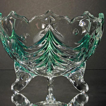 Christmas Footed Candy Dish  Mikasa Crystal Holiday Evergreen Emerald