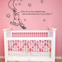 Wall Decal Vinyl Sticker Decals Art Decor Design Cartoon Winnie Pooh sometimes smallest things Stars moon  Kids Children Nursery (r1204)