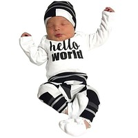 Newborn baby boy girl clothing set Long sleeve (T shirt+ pants+hat) newborn clothes toddler suit baby boy clothes 3 pcs