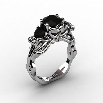 Nature Fairy 14K White Gold 1.0 Ct Round and Heart Black Diamond Three Stone Engagement Ring R1082-14KWGBD
