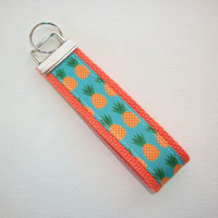 Key Fob - Wristlet - keyChain -  keylette - key chain pineapples orange