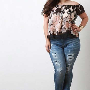 Distressed Skinny Jeans Plus Size