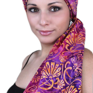 Purple Coral Turban, Head Wrap, Alopecia Scarf, Chemo Hat & Scarf Set