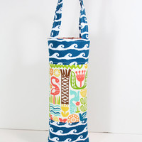 Wine Tote Padded Wine Bag with Waves and Tropical Fabric Great Hostess Gift