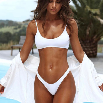 Sexy Solid Color Strap Thong Beach Bikini Set Swimsuit Swimwear