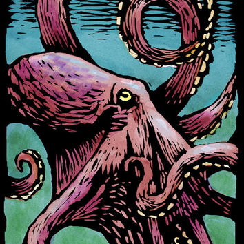 Octopus - Scratchboard (Art Prints available in multiple sizes)