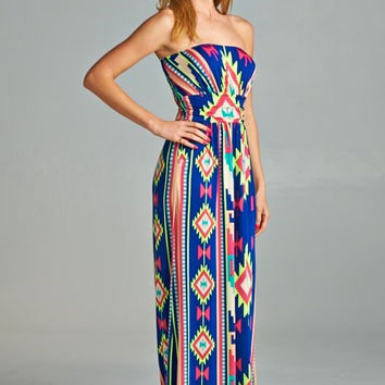 Royal Blue and Neon Aztec Strapless Maxi Dress (Large)