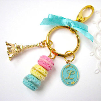 Tiffany blue bag charm, monogram keychain charm with trio of macarons, Tour eiffel, trigger snap clasp, swivel, key ring, ribbon.