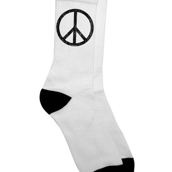 Peace Sign Symbol - Distressed Adult Crew Socks