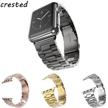 CRESTED Three bead Stainless Steel link Metal watch bracelet band Strap for Apple Watch Band 38 mm 42 mm for iwatch Watch 1/2
