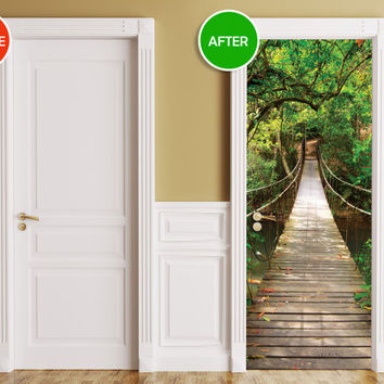 Door / Wall / Fridge Sticker - Bridge. Peel & Stick Removable Decole, Mural, Skin, Cover, Wrap, Decal, Poster