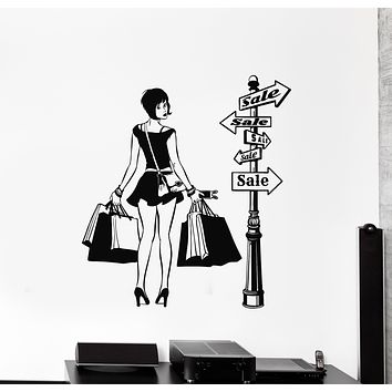 Vinyl Wall Decal Girl Shopping Discount Sale Clothing Shop Store Decor Stickers Mural (g1171)
