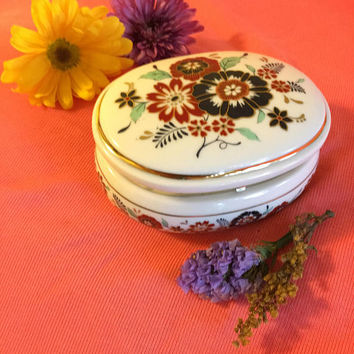 Wild Geraniums Ceramic Music Box Vintage 1987 Museum Collections Lidded Trinket Dish The Floral Overtures Collection Musical Jewelry Box
