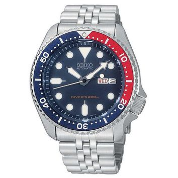 Seiko Mens Automatic Dive Watch -  200M - Stainless Bracelet - Blue Dial