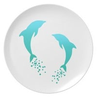 Turquoise Blue Jumping Dolphin With Bubbles Plate
