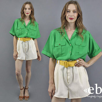 Kelly Green Blouse Secretary Blouse Short Sleeve Summer Blouse Kelly Green Shirt Camper Shirt Work Blouse Plus Size Vintage Blouse XL 1X