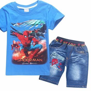 Children Kids Spiderman Denim Clothing Set Teenage Boys Summer Cotton Short Sleeve T Shirt Jeans Shorts Pants Clothes Set