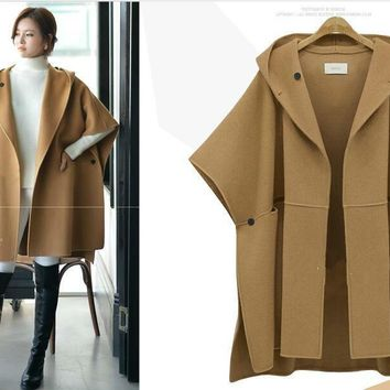 5xl women's clothing European Suit-dress Cloak Woolen Loose Coat Winter Clothes Woollen Overcoat Fat Mm Long Windbreaker  jacket