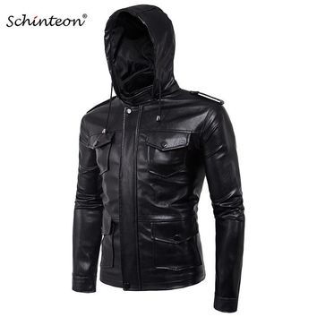Trendy Men Soft PU Leather Jacket with Leather Hood Black Mutil Pockets Plus Size Motorcycle Jacket Male Brand Clothing AT_94_13