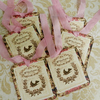 French Inspired Gift Tags French Script Tags Set 6 Handmade