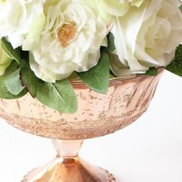 """Blush Copper Glass Compote Bowl Wedding Decoration - 5"""" Tall x 7"""" Wide"""