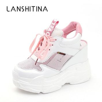 Casual Shoes Women's Flats Shoes Mesh Breathable Platform Wedge Heels Shoes 11cm Summer Sneakers Zapatillas Deportivas Mujer