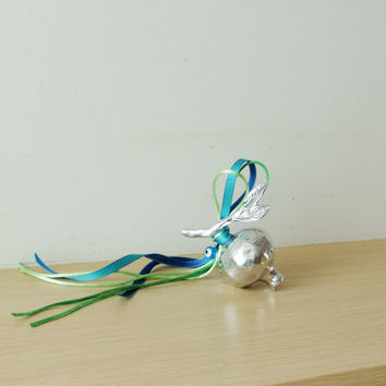 Silver pomegranate sculpture, pomegranate on branch with leaf, aluminum pomegranate, Greek folk art object, green blue ribbons and blue eye