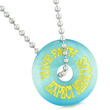 Inspiration Have Faith Expect Miracles Amulet Donut Lucky Charm Blue Simulated Cats Eye 18 Inch Necklace