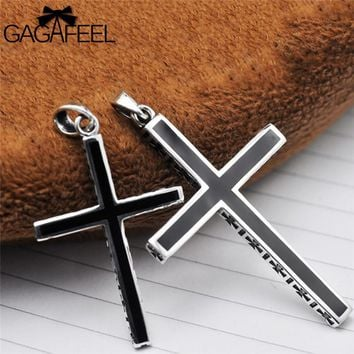 GAGAFEEL Punk 925 Sterling Silver Cross Pendant Necklace For Men Women Unisex Lover Couple Jewelry Bijoux No Chain For Party
